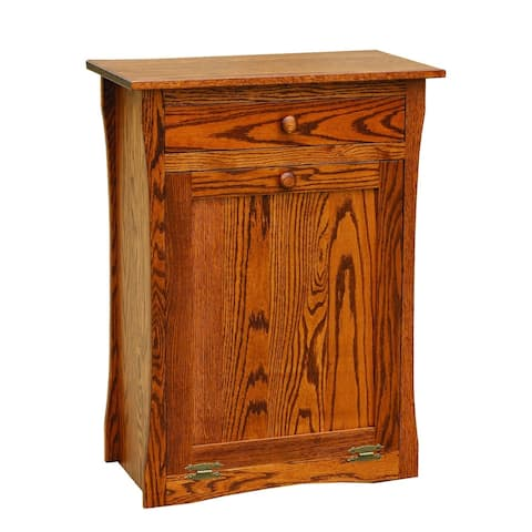 Oak Tilt Out Trash/Recycling Bin with Drawer