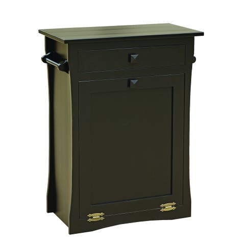 Brown Maple Tilt Out Trash/Recycling Bin with Drawer & Towel Bar