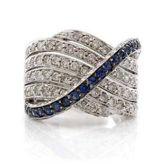 White Gold 2.5 CTW Diamond and Sapphires Crossover Ring