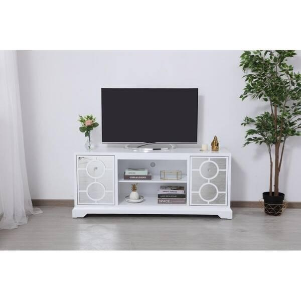 Indigo Home White Wood Finish Mirrored Tv Stand Cabinet