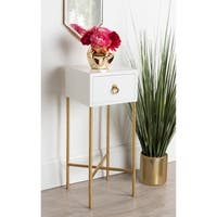 Kate and Laurel Decklyn Wood Square Side Accent Table with Goldtone Metal Legs