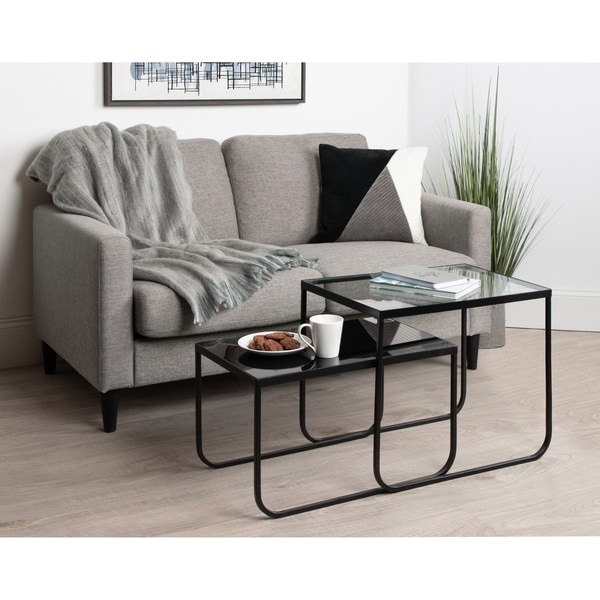 Kate and Laurel Colt Glass-top Nesting Tables - (Set of 2)