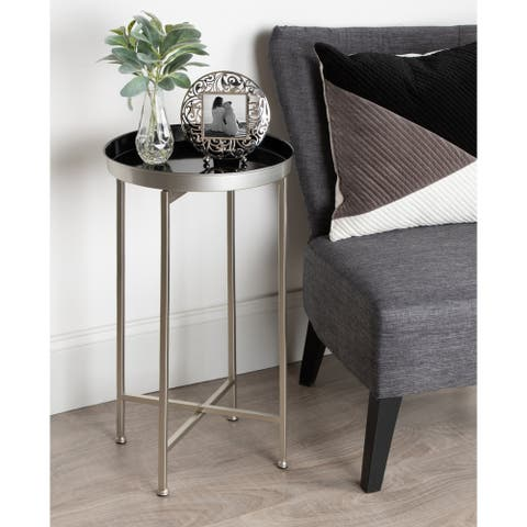 Kate and Laurel Celia Round Metal Foldable Tray Table - 14x14x25.75