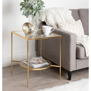 Kate and Laurel Tulare Goldtone Metal/Glass Side Table