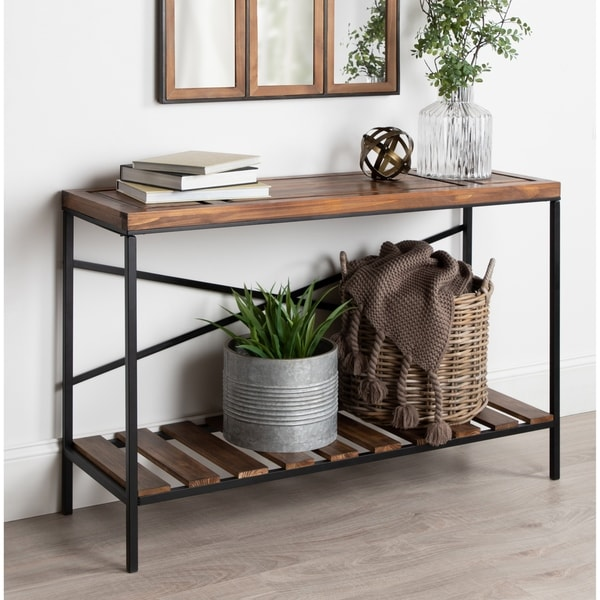 Shop Kate And Laurel Garaghan Brown Wood Metal Console Table Free
