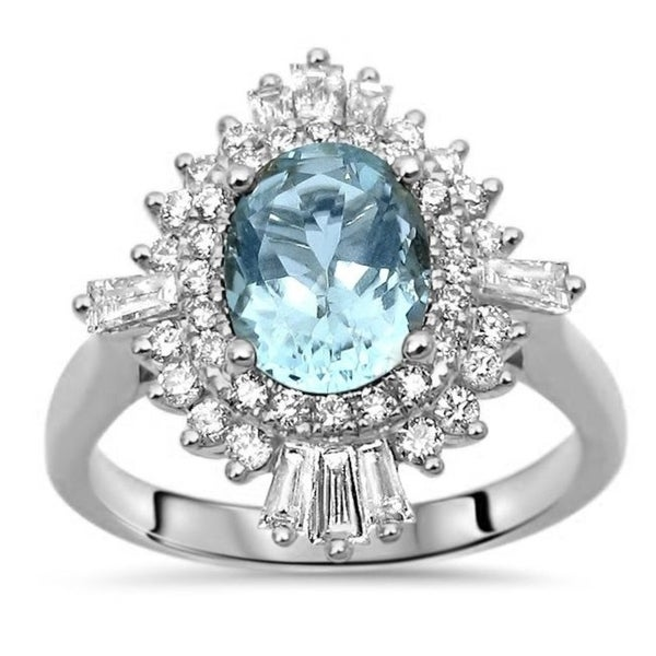 Shop 1 & 3/5ct TGW Oval Aquamarine And Diamond Ballerina