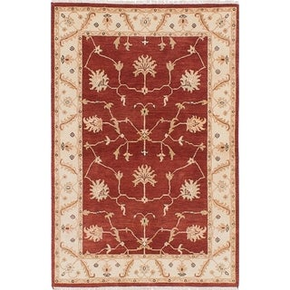 ECARPETGALLERY  Hand-knotted Chobi Twisted Dark Red Wool Rug - 4'0 x 6'0