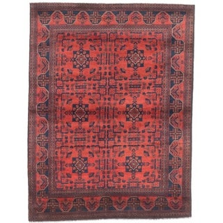 ECARPETGALLERY  Hand-knotted Finest Khal Mohammadi Dark Burgundy Wool Rug - 4'11 x 6'4