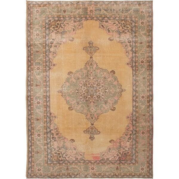 ECARPETGALLERY Hand-knotted Antalya Vintage Beige Wool Rug - 7'3 x 10'4