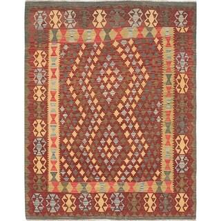 ECARPETGALLERY  Flat-weave Hereke FW Dark Red Wool Kilim - 5'4 x 6'10