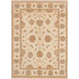 ECARPETGALLERY  Hand-knotted Chobi Twisted Cream Wool Rug - 6'7 x 9'2