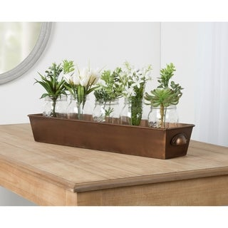 Kate and Laurel Forgeham Metal Tray with Handles - 26x6