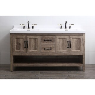 Legion Furniture Antique Oak Finish 61-inch Bathroom Vanity without Faucet