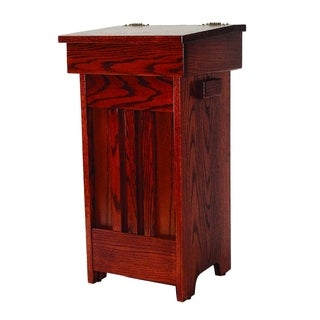 Oak Mission Trash/Recycling Bin with Hinged Lift Up Lid