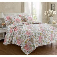 Cozy Line Breezy Floral 3 Piece Reversible Cotton Quilt Set