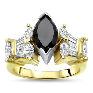 Noori 2 & 2/5ct Black Marquise Diamond Engagement Ring 18k Yellow Gold