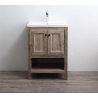 Legion Furniture Antique Oak Finish Bathroom Vanity with White Ceramic Top