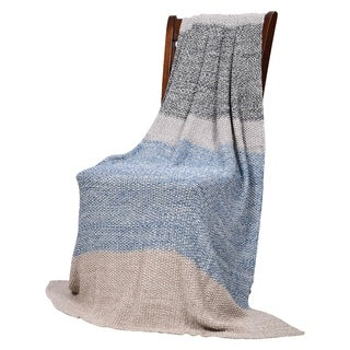 Vena - Blue/grey - Cotton throw blanket