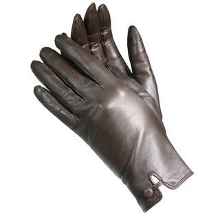 Isotoner A68423 Women's Lamb Leather Gloves Brown