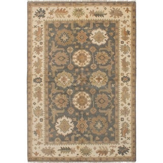 ECARPETGALLERY  Hand-knotted Royal Ushak Dark Grey Wool Rug - 6'2 x 9'0