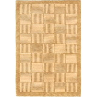ECARPETGALLERY  Hand-knotted Karma Tan Wool Rug - 7'5 x 9'5