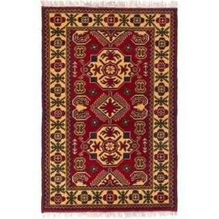 ECARPETGALLERY  Hand-knotted Finest Kargahi Dark Red Wool Rug - 2'9 x 4'2