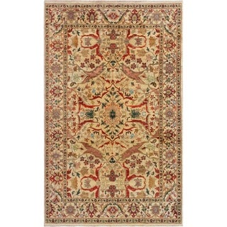 ECARPETGALLERY  Hand-knotted Royal Mahal Cream Wool Rug - 6'0 x 9'9