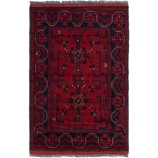 ECARPETGALLERY  Hand-knotted Finest Khal Mohammadi Dark Red Wool Rug - 3'4 x 5'2