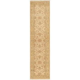 ECARPETGALLERY  Hand-knotted Peshawar Finest Beige Wool Rug - 2'7 x 10'1