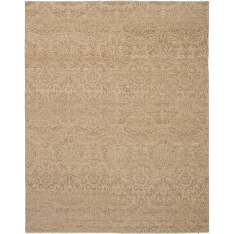 Hand-knotted Royal Ushak Khaki Wool Rug