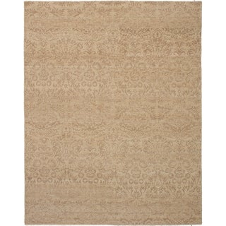 ECARPETGALLERY  Hand-knotted Royal Ushak Light Khaki Wool Rug - 7'8 x 9'8