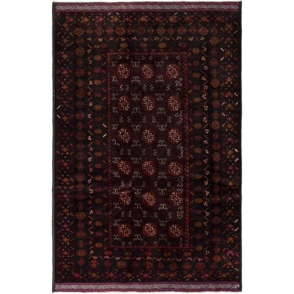 ECARPETGALLERY Hand-knotted Royal Baluch Black, Burgundy Wool Rug - 4'3 x 6'5