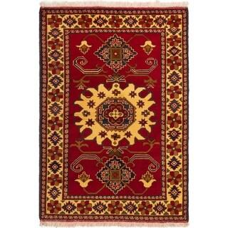 ECARPETGALLERY  Hand-knotted Finest Kargahi Dark Red Wool Rug - 3'6 x 4'10