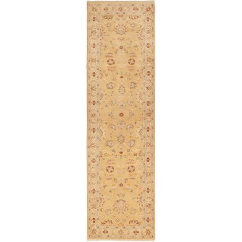 Hand-knotted Chobi Twisted Gold Wool Rug