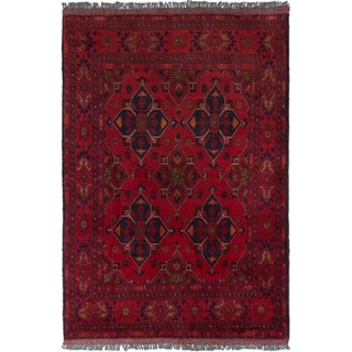 ECARPETGALLERY  Hand-knotted Finest Khal Mohammadi Dark Red Wool Rug - 3'2 x 4'9