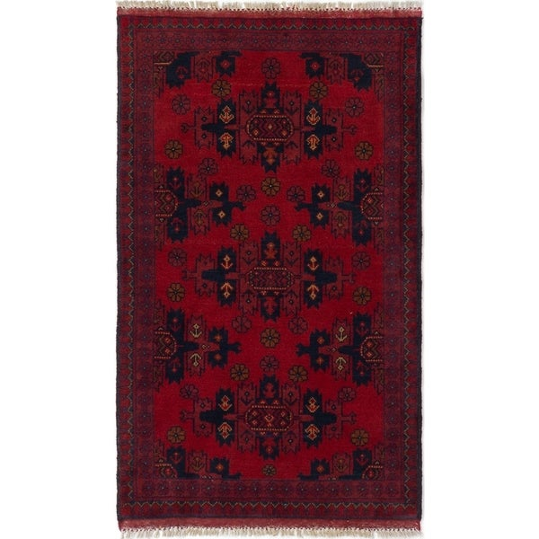 ECARPETGALLERY Hand-knotted Finest Khal Mohammadi Red Wool Rug - 2'7 x 4'2