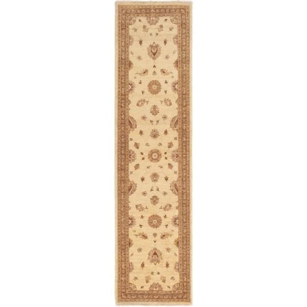 ECARPETGALLERY Hand-knotted Peshawar Finest Cream Wool Rug - 2'8 x 10'7