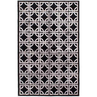 ECARPETGALLERY  Hand-knotted Silk Touch Black Silk, Wool Rug - 5'7 x 8'6