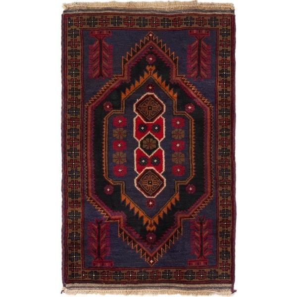 ECARPETGALLERY Hand-knotted Baluch Dark Navy, Red Wool Rug - 2'10 x 4'7