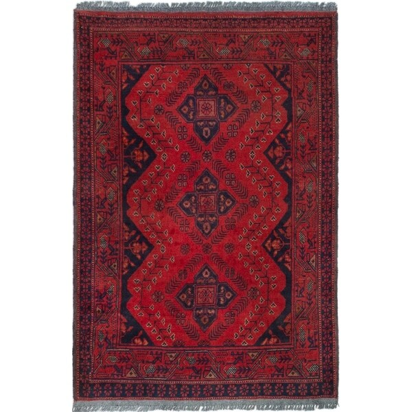 ECARPETGALLERY Hand-knotted Finest Khal Mohammadi Red Wool Rug - 2'6 x 3'10