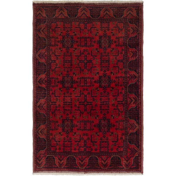 ECARPETGALLERY Hand-knotted Finest Khal Mohammadi Red Wool Rug - 4'0 x 6'4