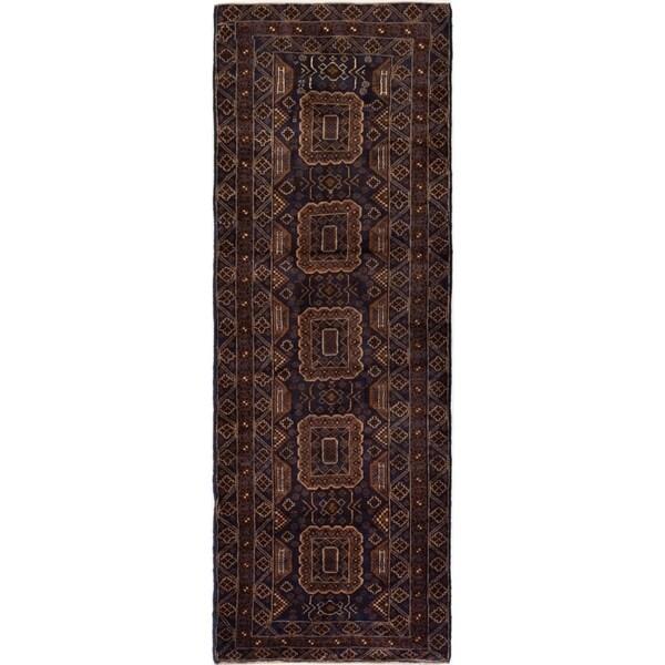 ECARPETGALLERY Hand-knotted Royal Baluch Brown, Dark Navy Wool Rug - 3'4 x 9'4