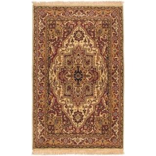ECARPETGALLERY  Hand-knotted Serapi Heritage Dark Red, Ivory Wool Rug - 4'0 x 6'0
