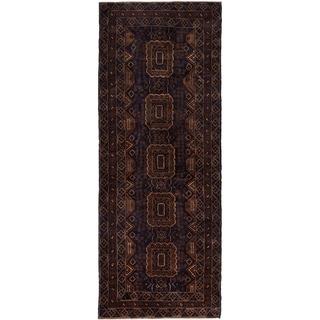 ECARPETGALLERY  Hand-knotted Baluch Brown, Dark Navy Wool Rug - 3'7 x 9'9