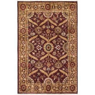 ECARPETGALLERY  Hand-knotted Royal Mahal Dark Burgundy Wool Rug - 5'5 x 8'5