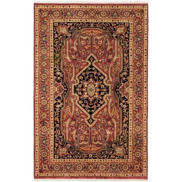 ECARPETGALLERY Hand-knotted Serapi Heritage Dark Red Wool Rug - 5'3 x 8'6