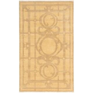 ECARPETGALLERY  Hand-knotted Ziegler Chobi Beige Wool Rug - 5'5 x 9'2