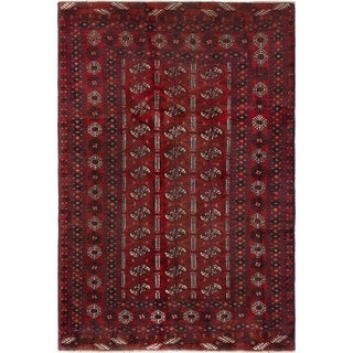 ECARPETGALLERY  Hand-knotted Royal Baluch Red Wool Rug - 4'2 x 6'3