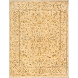 ECARPETGALLERY  Hand-knotted Peshawar Finest Ivory Wool Rug - 8'2 x 10'5