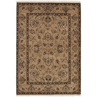 ECARPETGALLERY  Hand-knotted Finest Agra Jaipur Tan Wool Rug - 4'2 x 6'0